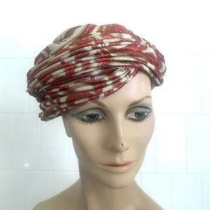 Vintage 1960's brocade rust metallic turban hat